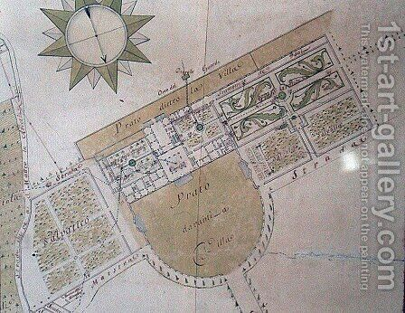 Plan of the Villa del Poggio Imperiale by Giuseppe Ruggieri - Reproduction Oil Painting
