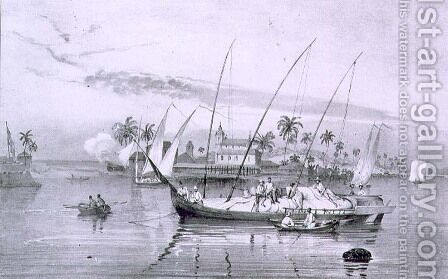 The Island of Itaparica, Brazil, engraved by Leon Jean Baptiste Sabatier fl.1827-87 and Victor Adam 1801-66 c.1835 by (after) Rugendas, Johann Moritz - Reproduction Oil Painting