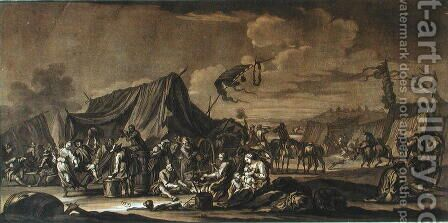 Army Encampment, 1694 by (after) Rugendas, Georg Philipp I - Reproduction Oil Painting