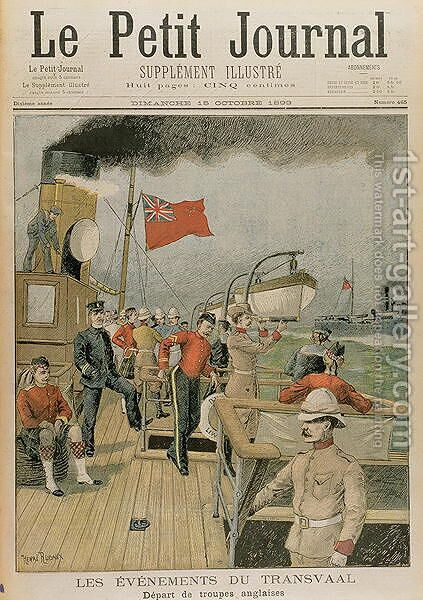 Events in the Transvaal Departure of the English troops for South Africa, from Le Petit Journal, 15th October 1899 by (after) Rudaux, Henri - Reproduction Oil Painting