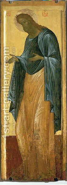 St. John the Forerunner, from the Deisis tier of the Dormition Cathedral in Vladimir by (circle of) Rublev, Andrei - Reproduction Oil Painting