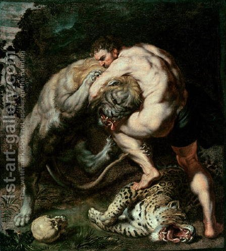 Hercules Fighting the Nemean Lion by (attr. to) Rubens, Peter Paul - Reproduction Oil Painting