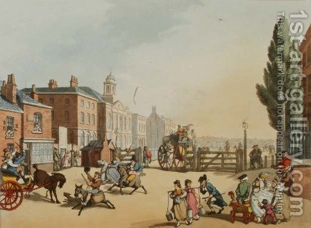 Entrance of Tottenham Court Road Turnpike with a view of St. Jamess Chapel, engraved by Heinrich Joseph Schutz 1760-1822, pub. 1809 by (after) Rowlandson, Thomas - Reproduction Oil Painting