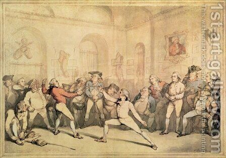 Angelos Fencing Room, pub. 1787 by (after) Rowlandson, Thomas - Reproduction Oil Painting