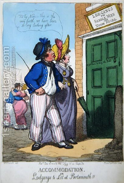 Lodgings for Single Men and their Wives in Portsmouth, 1808 by (after) Rowlandson, Thomas - Reproduction Oil Painting