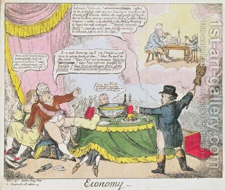 Economy, published by Johnston, London, May 1816 by (after) Rowlandson, Thomas - Reproduction Oil Painting