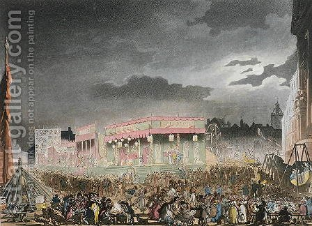 Bartholomew Fair, from the Microcosm of London, or London in Miniature, Vol. I, by Rudolph Ackerman, engraved by J. Bluch by (after) Rowlandson, Thomas - Reproduction Oil Painting