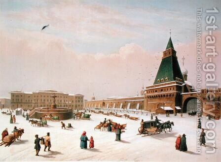 Loubyanska Square in Moscow, printed by Louis-Pierre-Alphonse Bichebois1801-50, 1830 by (after) Roussel, Paul Marie - Reproduction Oil Painting