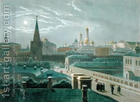 View of the Moscow Kremlin, 1840s by (after) Roussel, Paul Marie - Reproduction Oil Painting