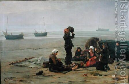 Waiting for the Fish, Berck-sur-Mer by Charles Emmanuel Joseph Roussel - Reproduction Oil Painting