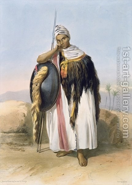 Warrior from Amhara, Ethiopia, illustration from The Valley of the Nile, engraved by Adolphe Rouargue 1810-p.1870 pub. by Lemercier, 1848 by (after) Rouargue, Adolphe - Reproduction Oil Painting