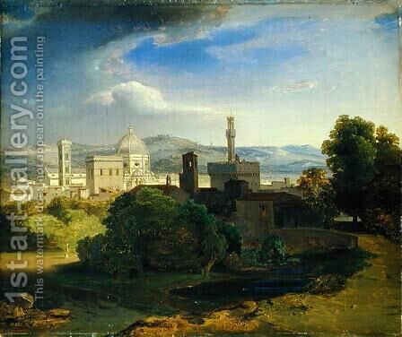 View over Florence, c.1829 by Carl Rottmann - Reproduction Oil Painting