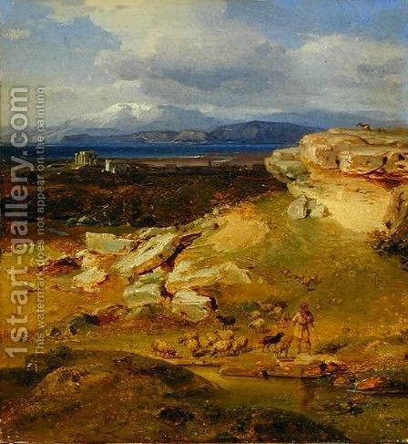 Landscape near Corinth, c.1835 by Carl Rottmann - Reproduction Oil Painting