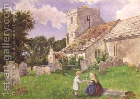 Children in a Church Yard by Charles Rossiter - Reproduction Oil Painting