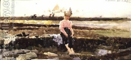 Young Girl Paddling by Alexander M. Rossi - Reproduction Oil Painting