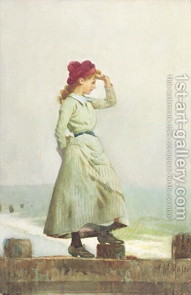 Young Girl on Seawall by Alexander M. Rossi - Reproduction Oil Painting