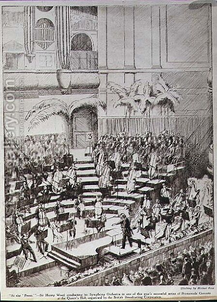 At The Prom Sir Henry Wood conducting his Symphony Orchestra in one of this year's successful series of Promenade Concerts at the Queen's Hall, organised by the British Broadcasting Corporation by (after) Ross, Michael - Reproduction Oil Painting