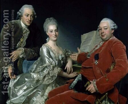 John Jennings Esq. and His Brother and Sister-in-Law, 1769 by Alexander Roslin - Reproduction Oil Painting