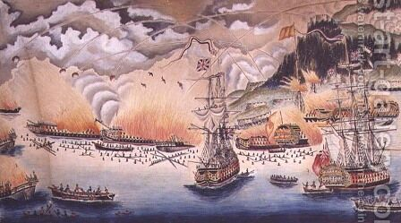 The Destruction of the Spanish Gun Boats and Floating Batteries at the Siege of Gibraltar by the Governor General Eliott, September 13th 1782, 1822 by James Rosewall - Reproduction Oil Painting