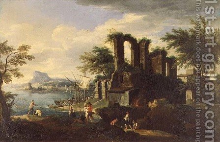 An Italian coastal landscape with fisherfolk by (circle of) Rosa, Salvator - Reproduction Oil Painting