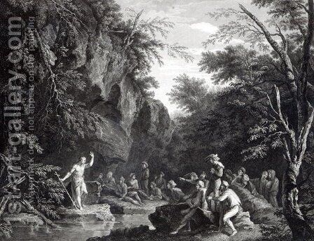 Saint John preaching in the Wilderness, engraved by John Browne, 1768 by (after) Rosa, Salvator - Reproduction Oil Painting