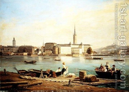 A view of Riddarholmen on Lake Malaven with the Ridarhuset and the Riddarholms church beyond, Stockholm by Martinus Rorbye - Reproduction Oil Painting