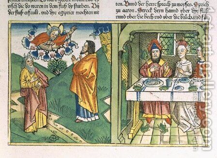 Exodus 8 1-15 The Seven Plagues of Egypt Moses and the plague of frogs, from the Nuremberg Bible Biblia Sacra Germanaica by (after) Room, Henry - Reproduction Oil Painting