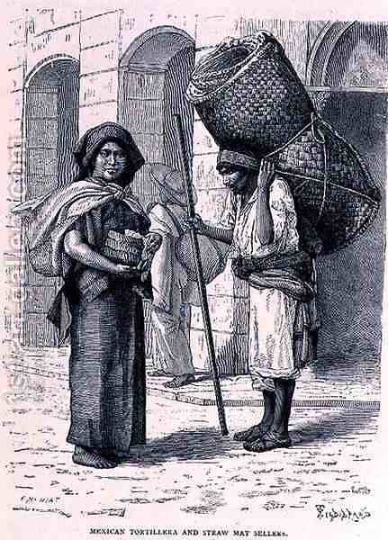 Mexican Tortillera and Straw Mat Seller, from The Ancient Cities of the New World, by Claude-Joseph-Desire Charnay, pub. 1887 by (after) Ronjat, Etienne - Reproduction Oil Painting