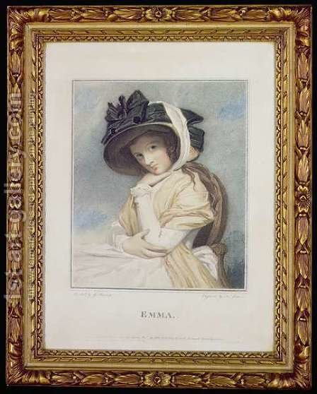 Emma, engraved and pub. by John Jones c.1745-97, 1785 by (after) Romney, George - Reproduction Oil Painting