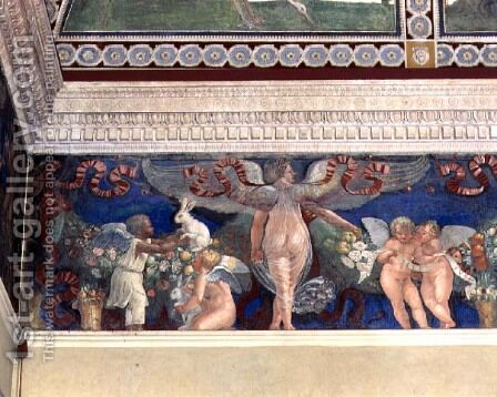 Frieze from the Camera con Fregio di Amorini Chamber of the Cupid Frieze detail of two cupids, one black, playing with rabbits, 1520s by Giulio Romano (Orbetto) - Reproduction Oil Painting