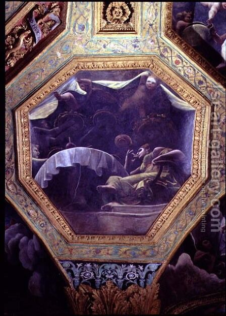 Psyche eating in the house of Cupid, ceiling caisson from the Sala di Amore e Psyche, 1528 by Giulio Romano (Orbetto) - Reproduction Oil Painting