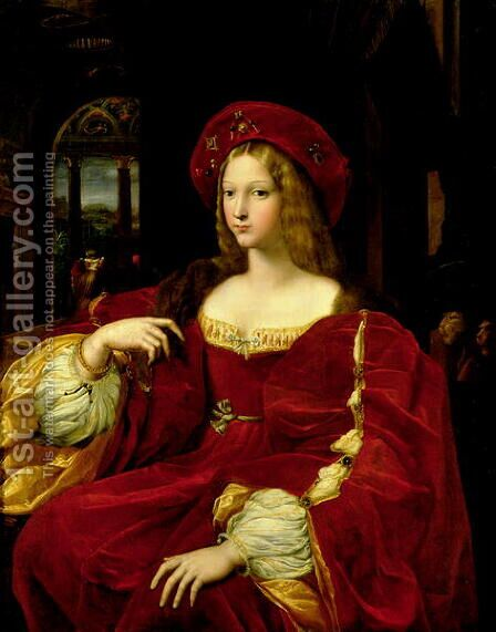 Portrait of Jeanne of Aragon c.1500-77 wife of Ascannio Colonna, Viceroy of Naples, 1518 by Giulio Romano (Orbetto) - Reproduction Oil Painting