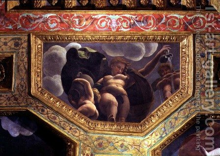 A nymph pouring water from a jug, a putto urinating and another putto holding an urn, ceiling caisson from the Sala di Amore e Psiche, 1528 by Giulio Romano (Orbetto) - Reproduction Oil Painting