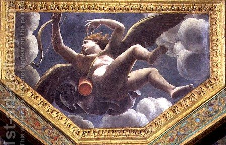 Cupid, ceiling caisson from the Sala di Amore e Psyche, 1528 by Giulio Romano (Orbetto) - Reproduction Oil Painting