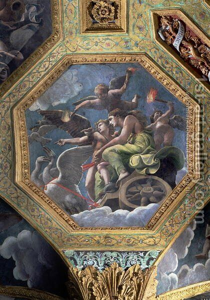 Venus and Cupid in a chariot drawn by swans, ceiling caisson from the Sala di Amore e Psiche, 1528 by Giulio Romano (Orbetto) - Reproduction Oil Painting