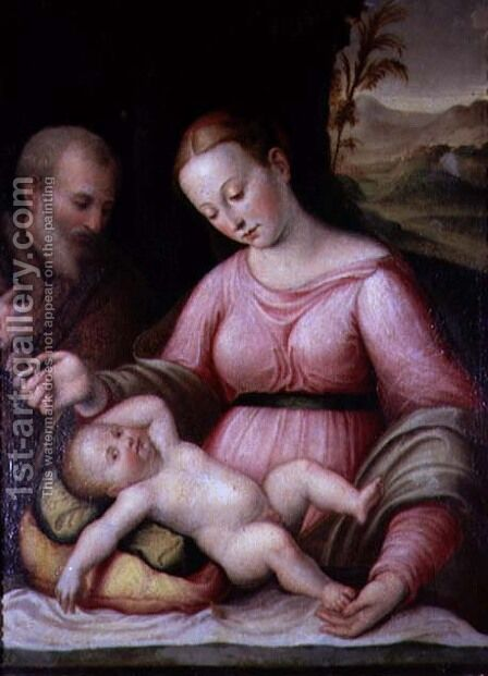 The Holy Family in a Mountainous Landscape by Giulio Romano (Orbetto) - Reproduction Oil Painting