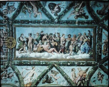 The Council of the Gods, ceiling decoration from the Loggia of Cupid and Psyche, 1510-17 by Giulio Romano (Orbetto) - Reproduction Oil Painting