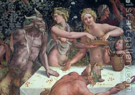 Two Horae scattering flowers, watched by two satyrs, detail of the rustic banquet celebrating the marriage of Cupid and Psyche from the Sala di Amore e Psiche, 1528 by Giulio Romano (Orbetto) - Reproduction Oil Painting