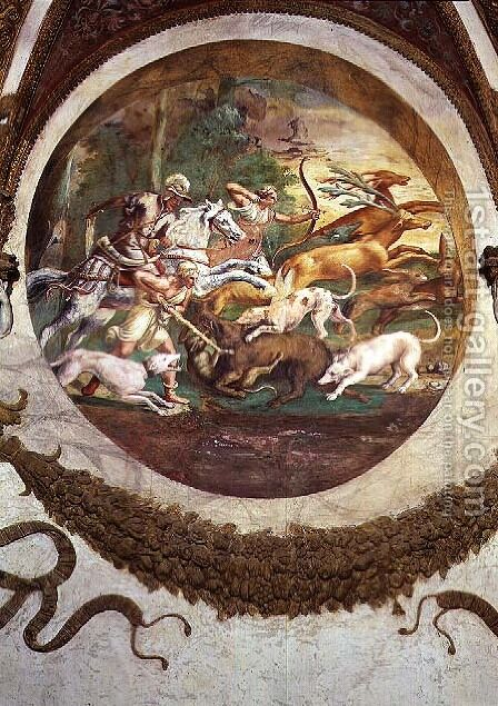 Scene showing that those born under the sign of Cancer in conjunction with the constellation of Mars will be skilled in hunting and fishing, symbolised by a scene of a hunt, from the Camera dei Venti, 1528 by Giulio Romano (Orbetto) - Reproduction Oil Painting