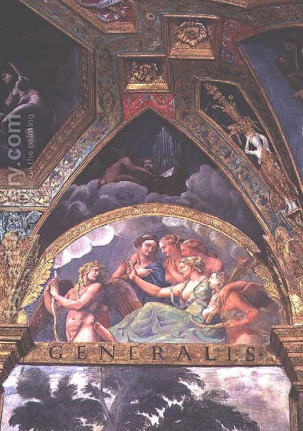 Cupid with Venus and Mercury whom she is sending to capture Psyche, lunette from the Sala di Amore e Psiche, 1528 by Giulio Romano (Orbetto) - Reproduction Oil Painting