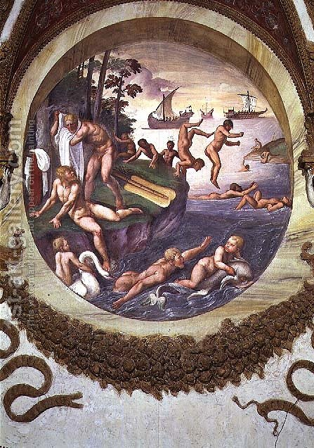 Scene showing that those born under the sign of Aries in conjunction with the constellation of the Ship and Dolphin are imparted with aptitudes for navigation and swimming, symbolised by the ship and swimmers, from the Camera dei Venti, 1528 by Giulio Romano (Orbetto) - Reproduction Oil Painting