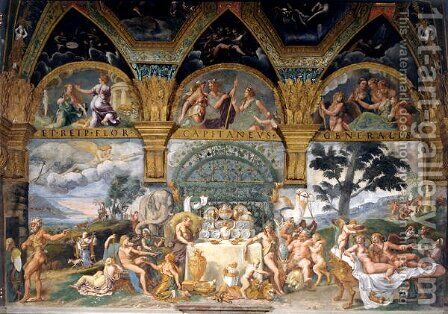 The noble banquet celebrating the marriage of Cupid and Psyche from the Sala di Amore e Psiche, 1527-31 by Giulio Romano (Orbetto) - Reproduction Oil Painting