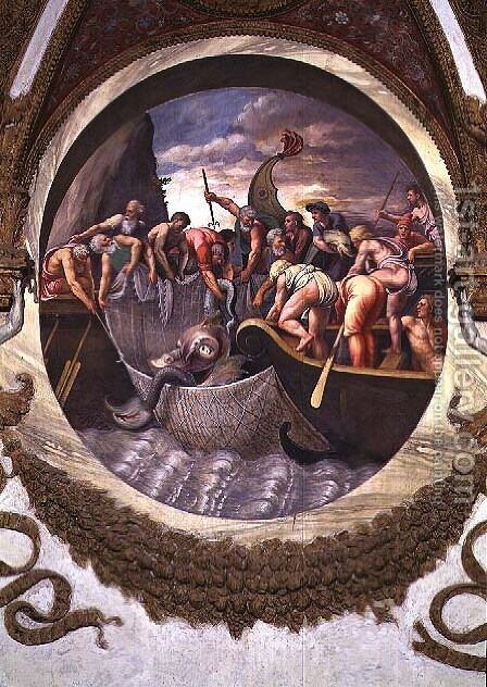 Scene showing that those born under the sign of Pisces in conjunction with the constellation of Belua are adept at fishing, symbolised by the capture of a sea monster, from the Camera dei Venti, 1528 by Giulio Romano (Orbetto) - Reproduction Oil Painting