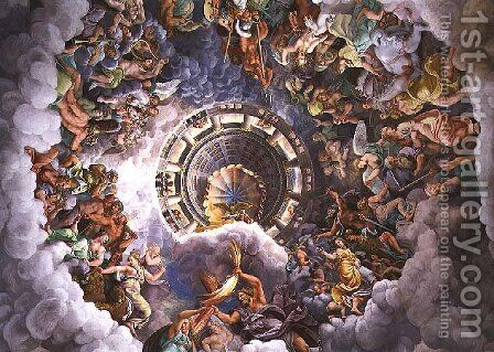 The Gods of Olympus, trompe loeil ceiling from the Sala dei Giganti, 1528 by Giulio Romano (Orbetto) - Reproduction Oil Painting