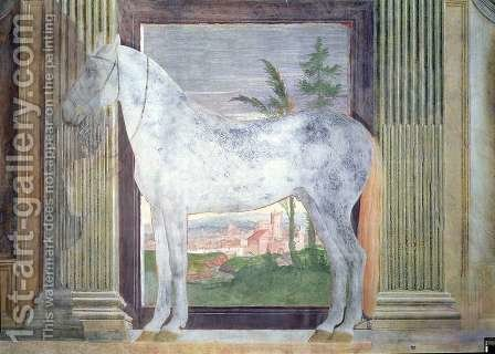 Sala dei Cavalli, detail showing a portrait of a grey horse from the stables of Ludovico Gonzaga III of Mantua, 1528 2 by Giulio Romano (Orbetto) - Reproduction Oil Painting