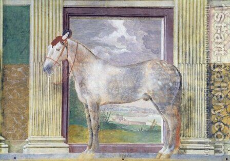 Sala dei Cavalli, detail showing a portrait of Dario, a horse from the stables of Ludovico Gonzaga III of Mantua, 1528 by Giulio Romano (Orbetto) - Reproduction Oil Painting