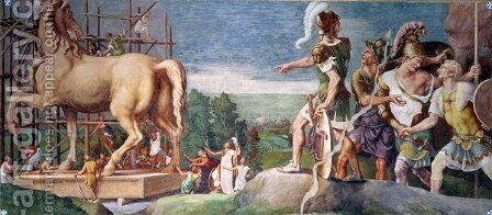 The Construction of the Wooden Horse of Troy by Giulio Romano (Orbetto) - Reproduction Oil Painting