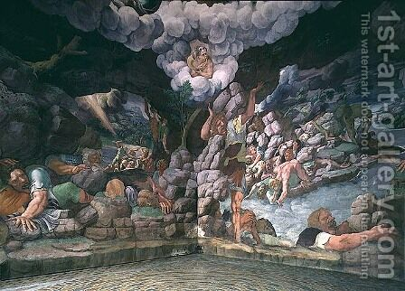 Sala dei Giganti, view of two walls showing the destruction of the rebellious giants by Jupiters thunderbolts, 1536 by Giulio Romano (Orbetto) - Reproduction Oil Painting