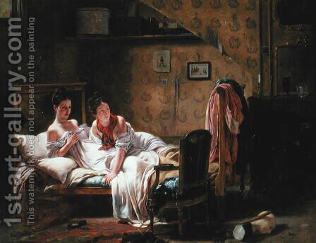 Two women in bed by J.A. Rohne - Reproduction Oil Painting