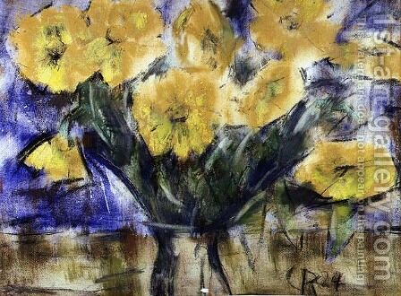 Yellow Flowers, 1924 by Christian Rohlfs - Reproduction Oil Painting